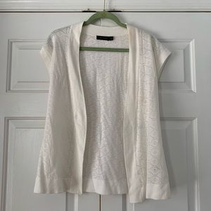 Ivory Cap Slv Open Front Cardigan TheLimited Sz S
